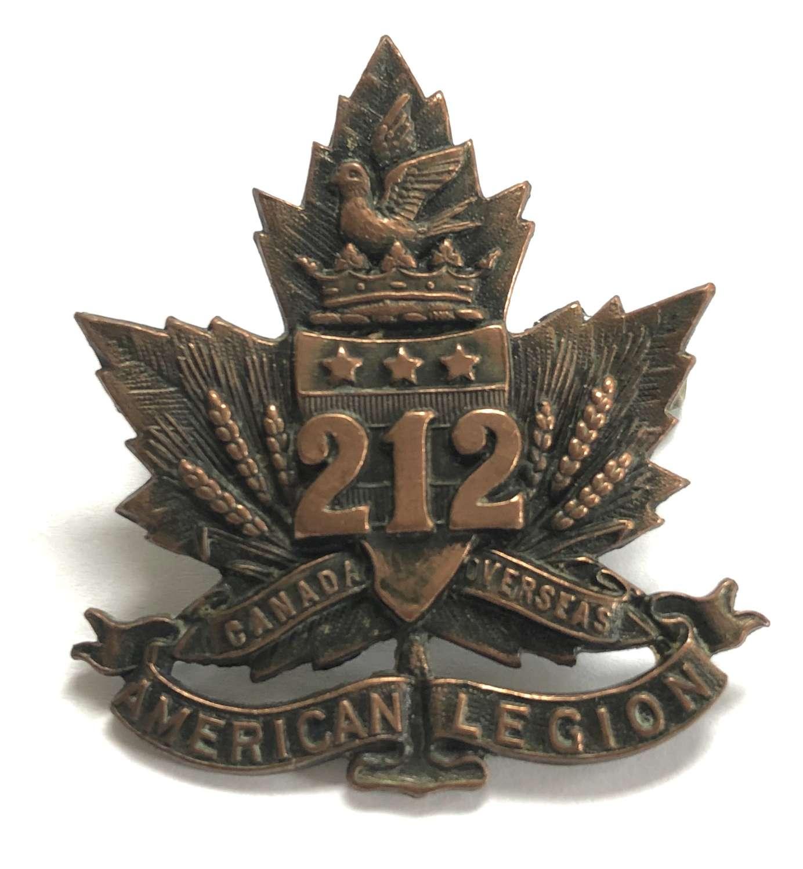 Canadian 212nd American Legion CEF WW1 cap badge
