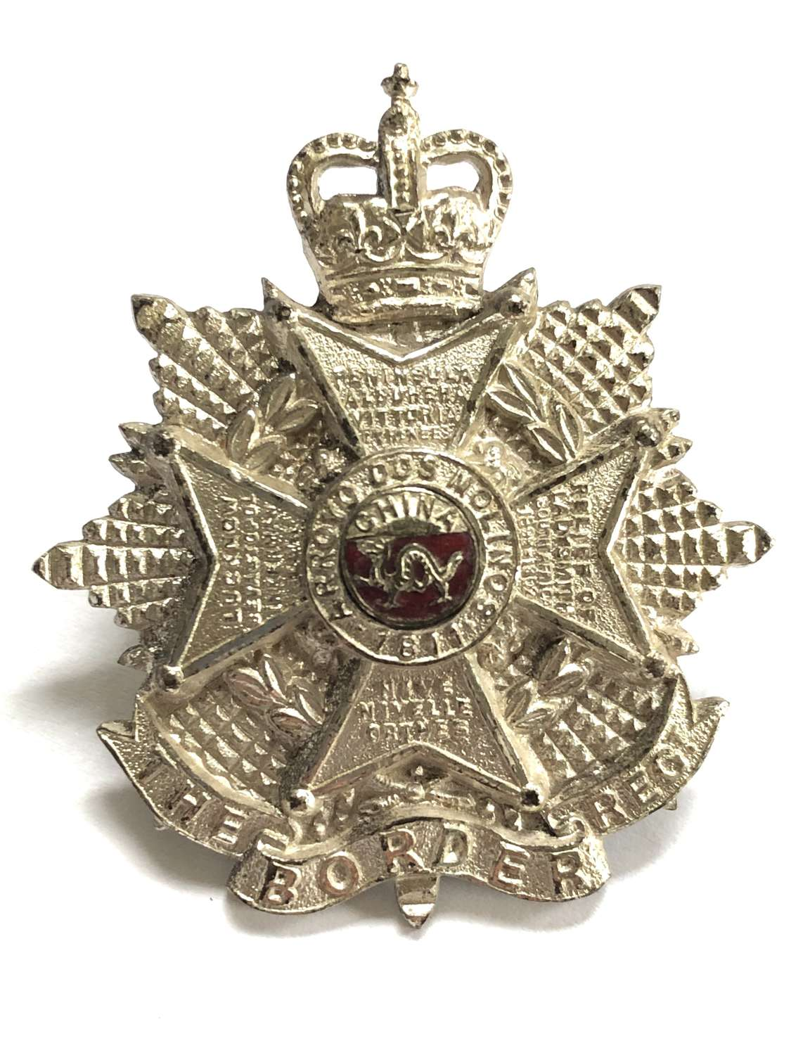 Border Regiment Officer's silvered and enamel cap badge circa 1953-5