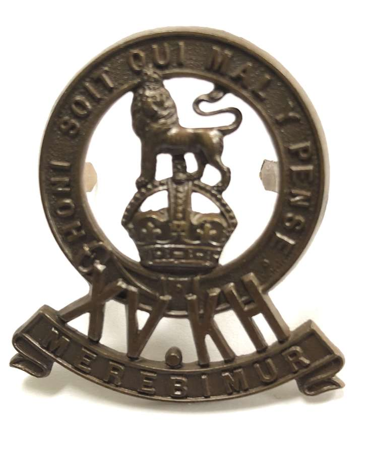 15th King's Hussars OSD bronze cap badge circa 1902-22 by Gaunt