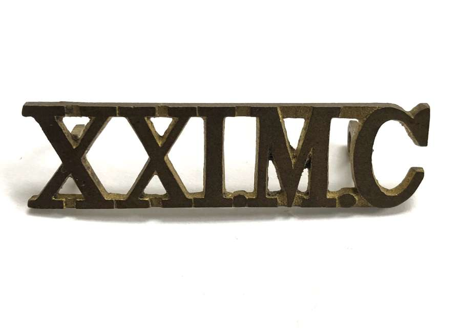 Indian Army 'XXI.M.C' Mule Company brass shoulder title