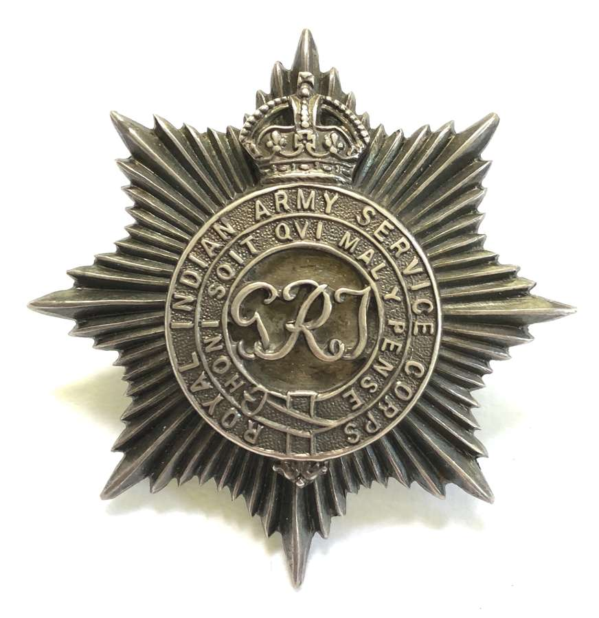 Royal Indian Army Service Corps post 1921 Officer's silver cap badge