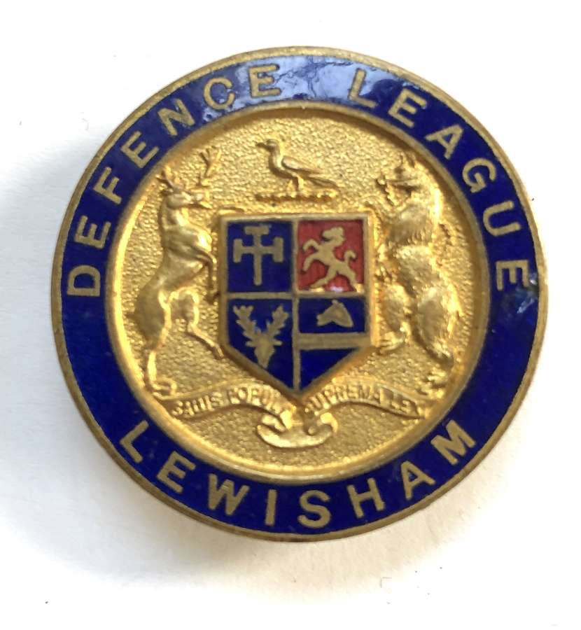 Lewisham Defence League WW1 VTC enamelled mufti badge by Vaughton Ltd