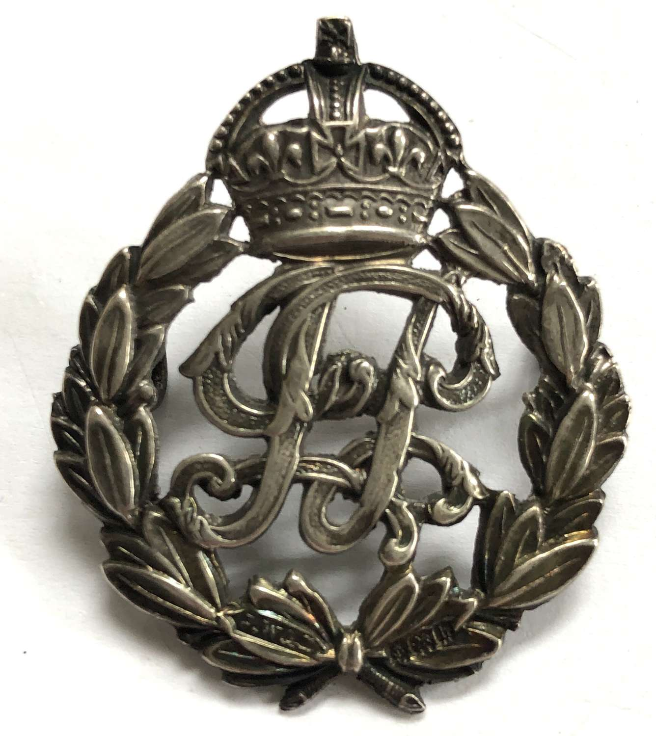 Indian Police Officer's 1907 Birmingham HM silver cap badge by Wise