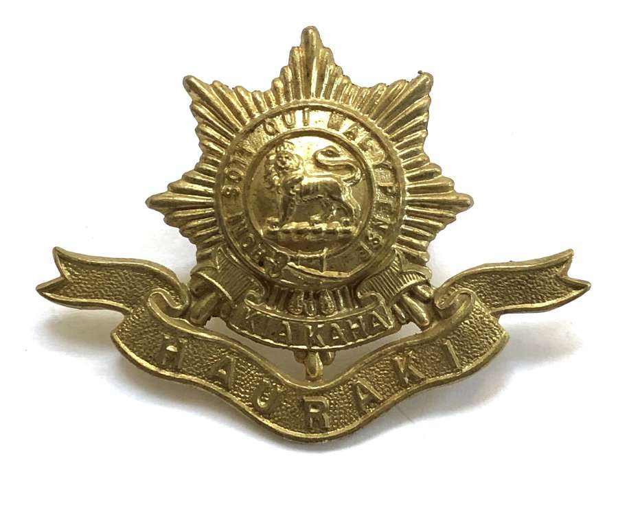New Zealand Hauraki Regiment brass cap badge