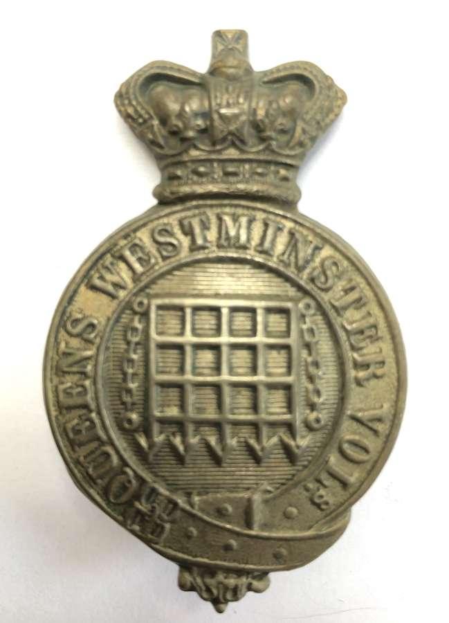 Queen's Westminster Volunteers Victorian glengarry badge circa 1878