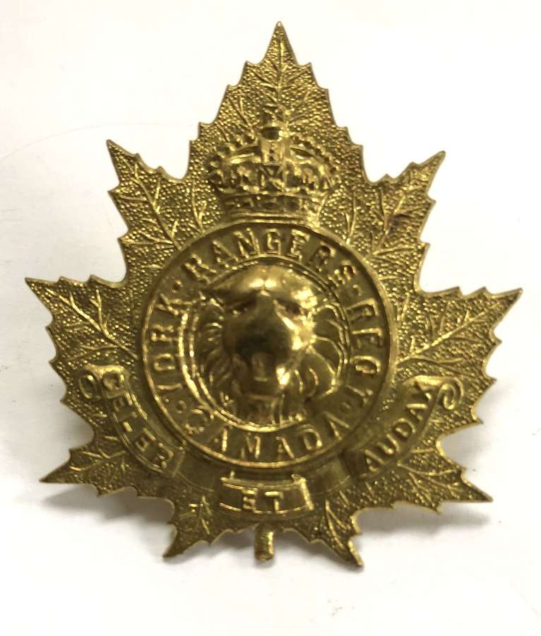 Canadian York Rangers cap badge circa 1922-36 by Scully, Montreal