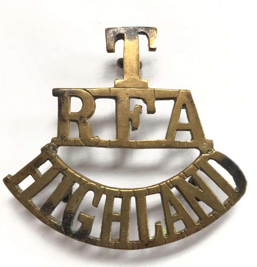 T / RFA / HIGHLAND Royal Field Artillery shoulder title c1908-21