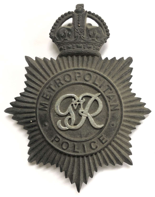 Metropolitan Police GVIR night helmet plate circa 1937-52