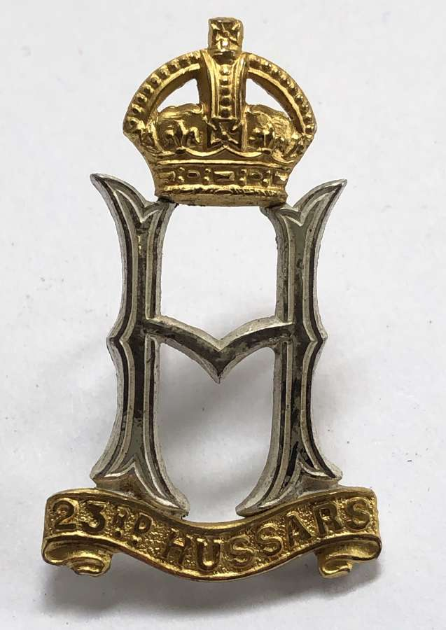 23rd Hussars Officer's silver cap badge circa 1940-46 by Gaunt