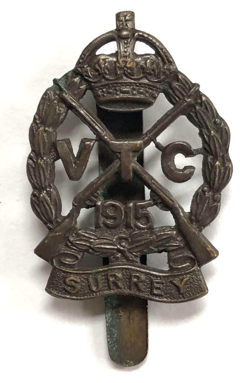 Surrey VTC WW1 cap badge