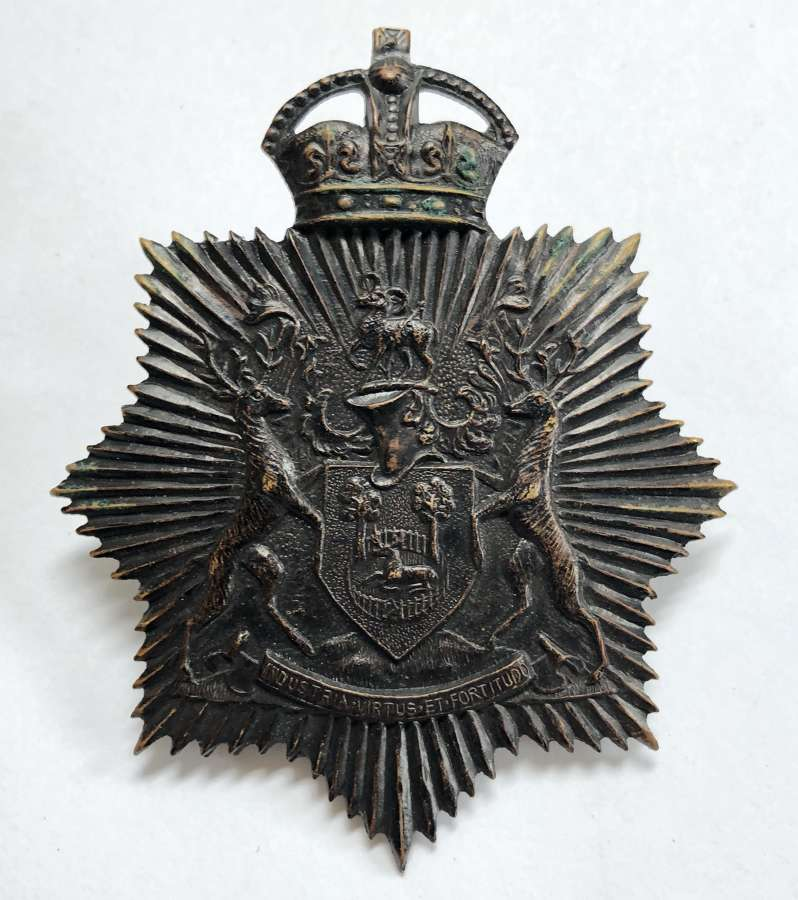 Derby Borough Police night duty helmet plate