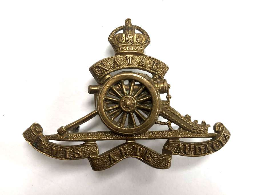 South African Natal Field Artillery brass slouch hat badge