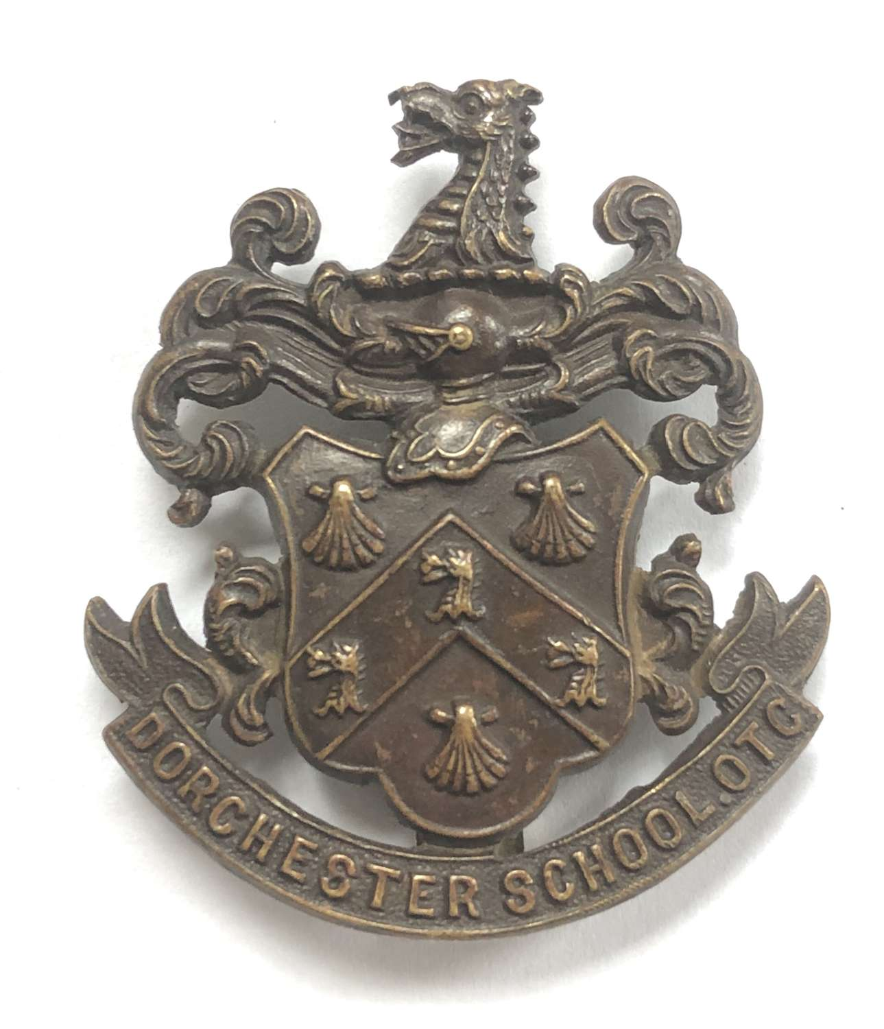 Dorchester School OTC brass cap badge