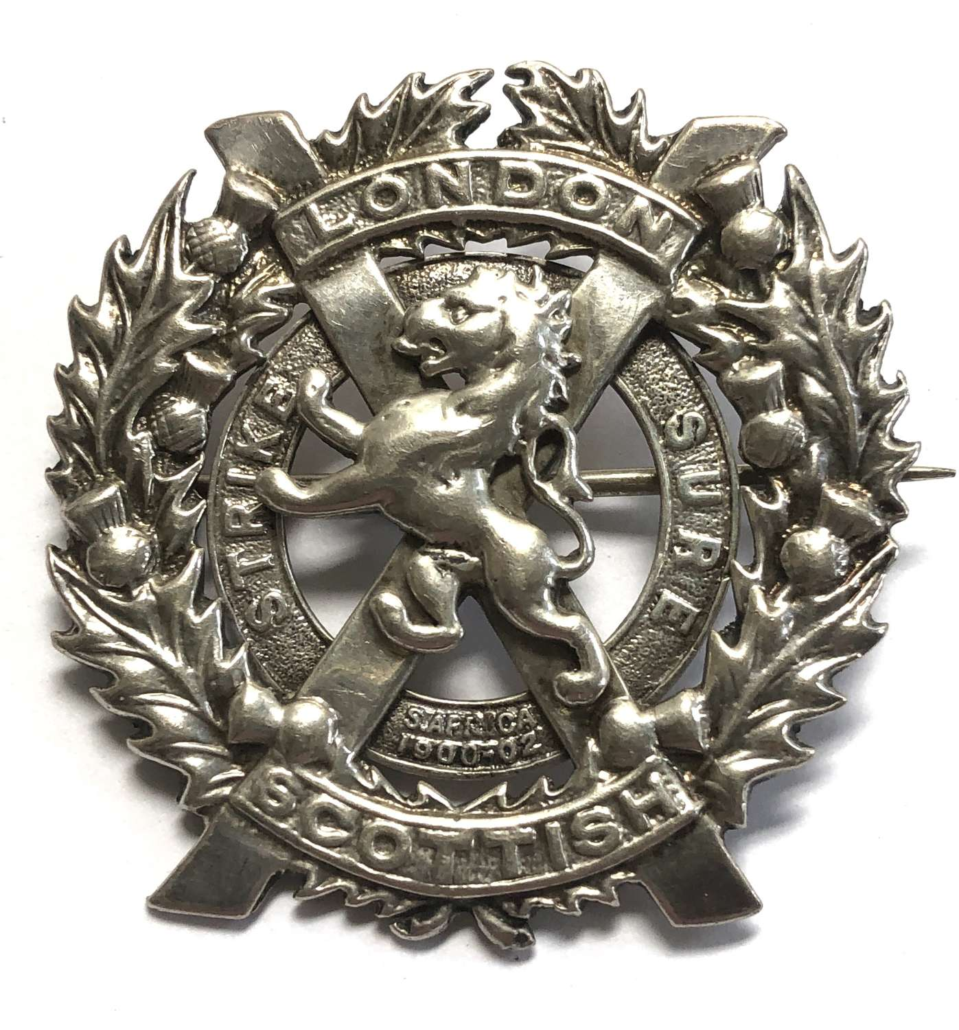 London Scottish Officer's 1938 HM silver glengarry badge.