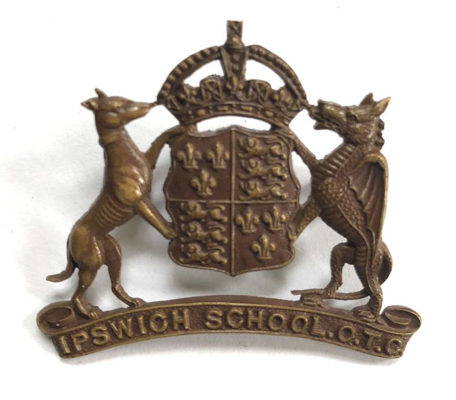Ipswich School OTC ,Suffolk OSD bronze cap badge