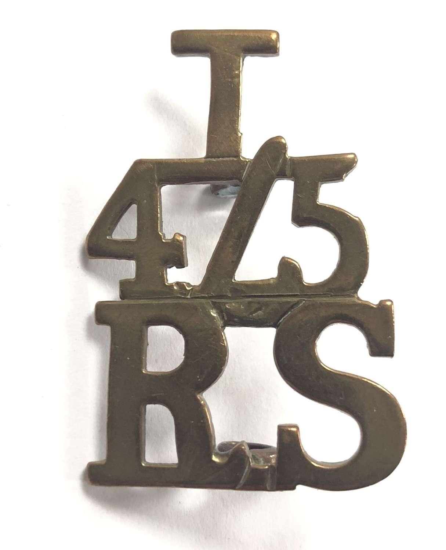 T / 4/5 / RS post 1921 brass Royal Scots shoulder title