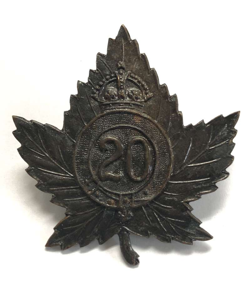 Canadian 20th Bn (1st Central Ontario Regt) CEF WW1 cap badge