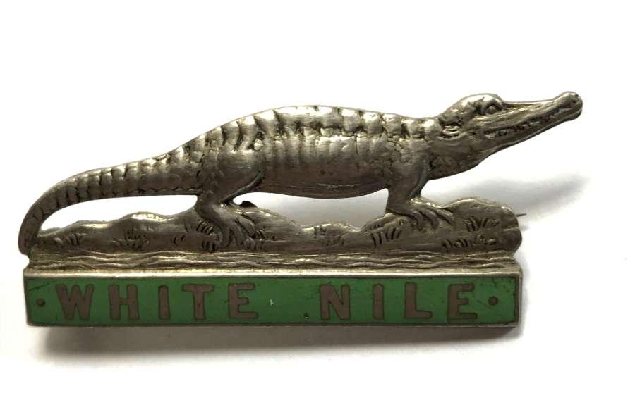 Sudan. White Nile Province 1930's white metal cap / pagri badge