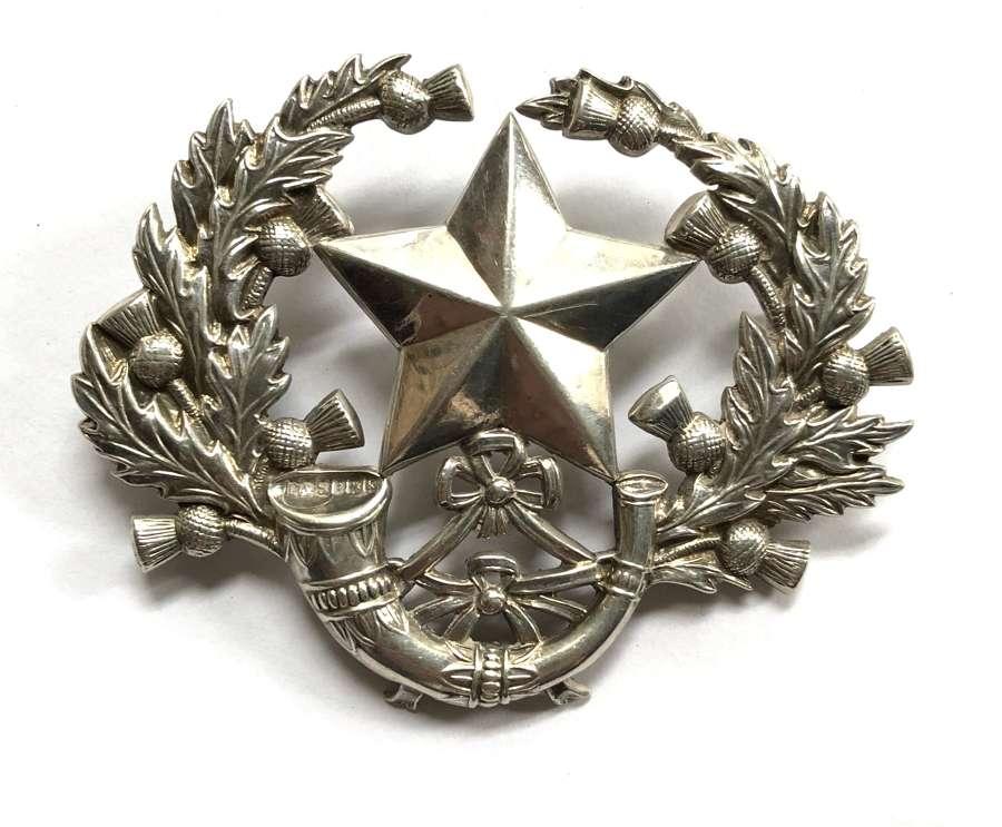 Cameronians 1909 Birmingham hallmarked silver glengarry badge