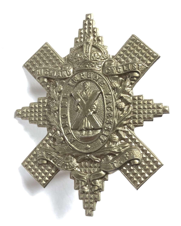 Scottish. Highland Cyclist Battalion sporran badge circa 1909-19