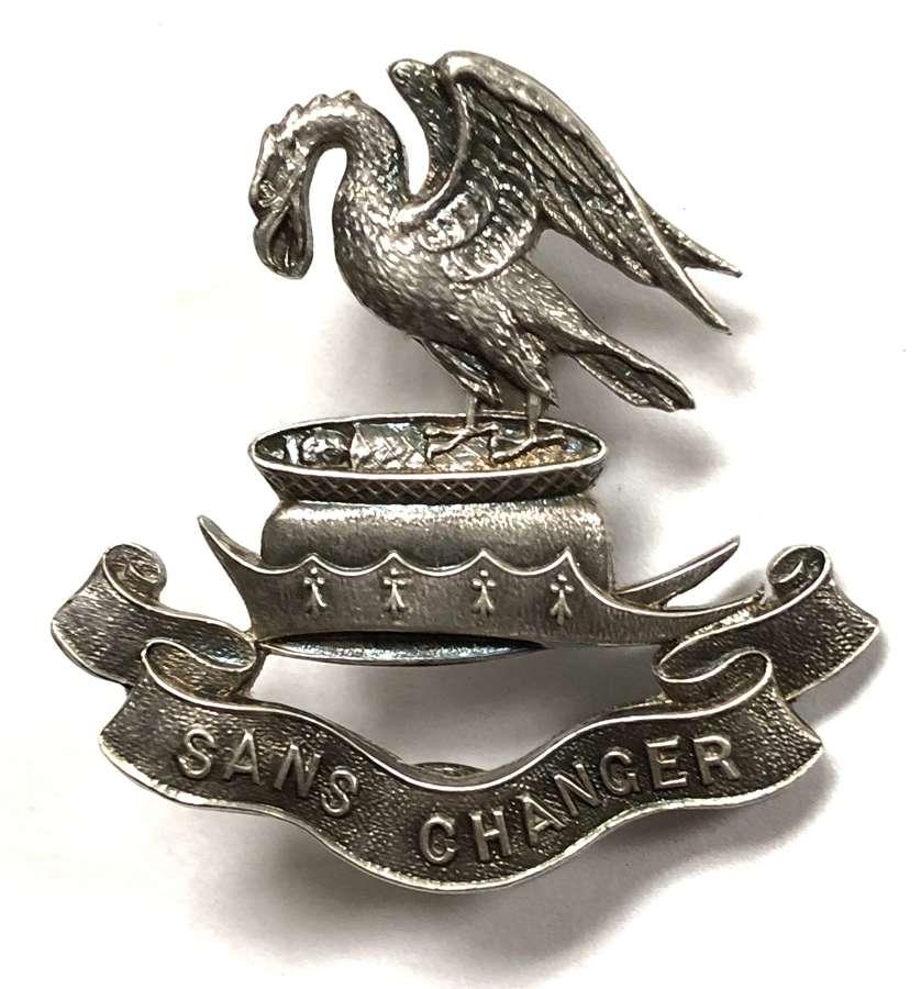 WW1 Liverpool Pals 1914 HM silver cap badge by Elkington & Co