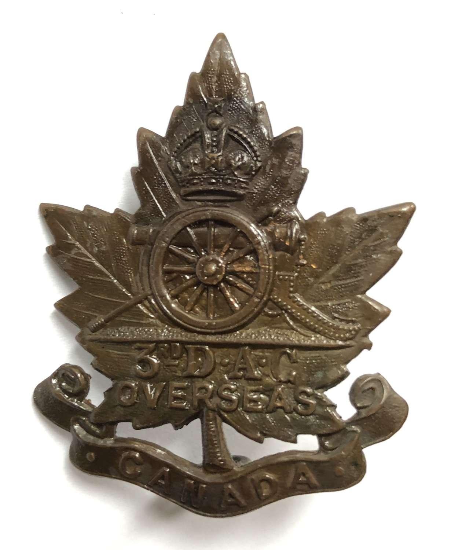 Canadian 3rd Divisional Ammunition Column CEF cap badge by Birks