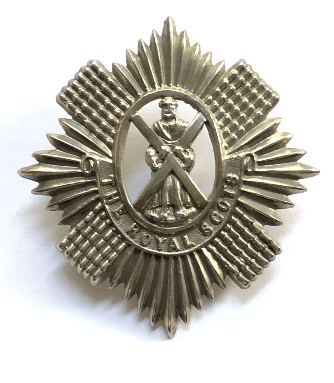 Royal Scots white metal glengarry badge