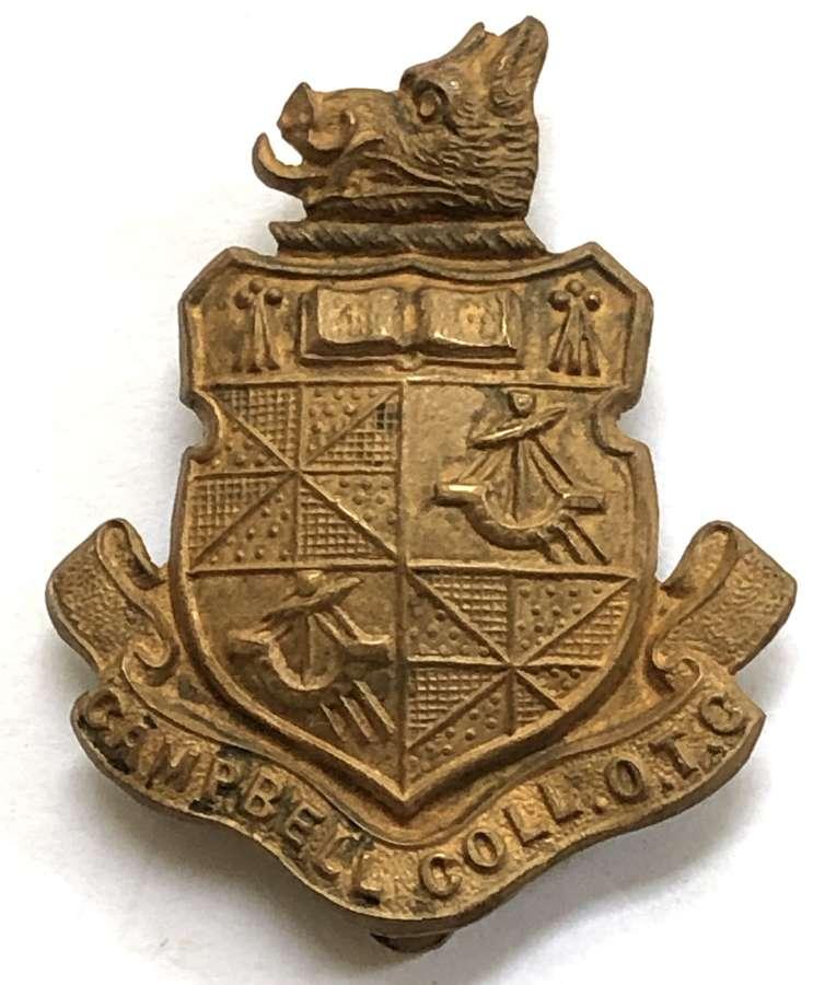 Campbell College, Belfast OTC brass Irish cap badge