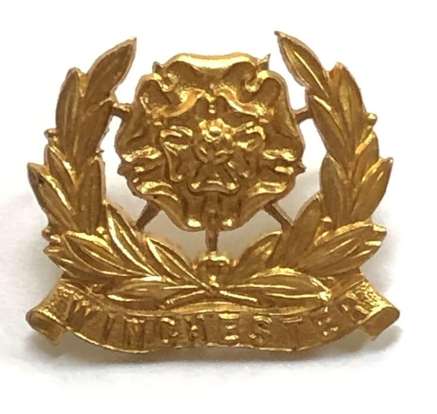 Winchester College OTC Hampshire brass cap badge