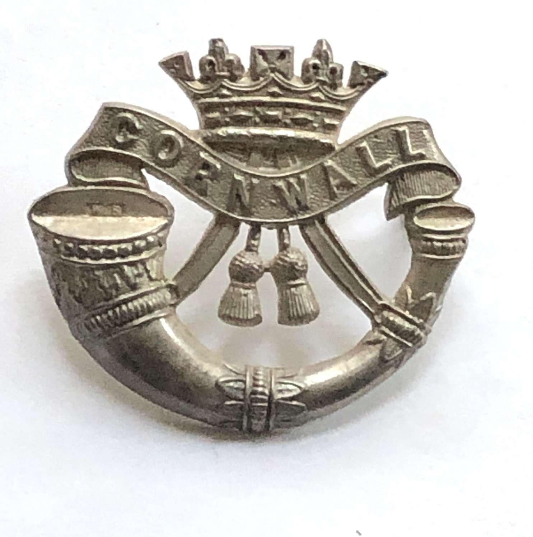 Duke of Cornwall's Light Infantry silver ccap badge