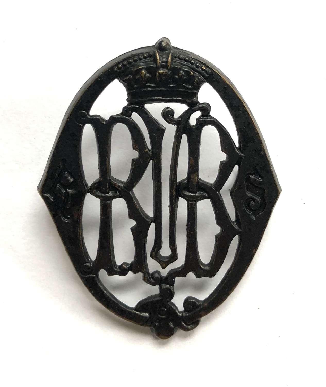Queen's Rifle Volunteer Brigade Victorian Royal Scots glengarry badg