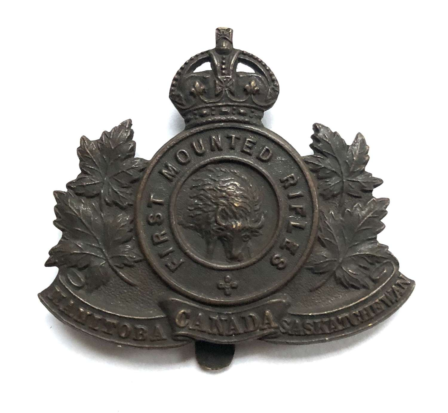 Canadian First Mounted Rifles CEF WW1 bronzed cap badge