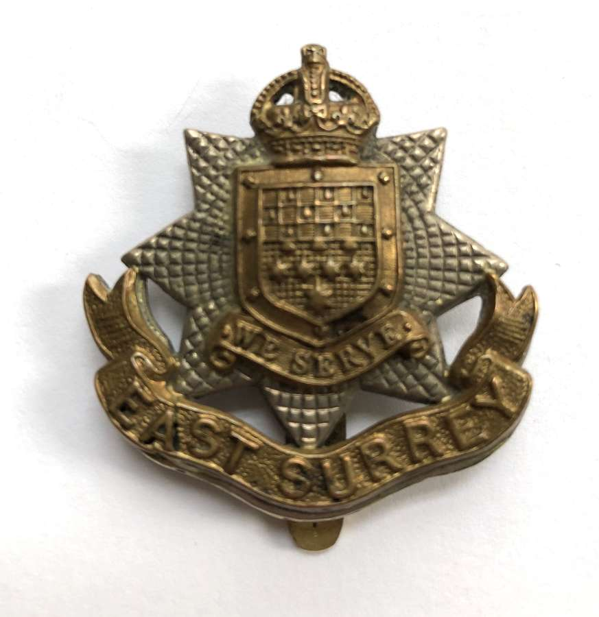 13th (Wandsworth) Bn. East Surrey Regiment WW1 1st pattern cap badge