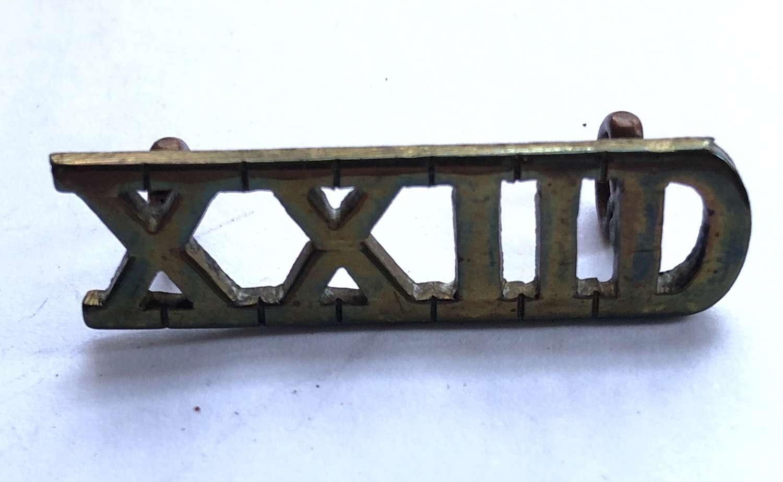 XXIID 22nd Dragoons WW2 Officer's brass shoulder title