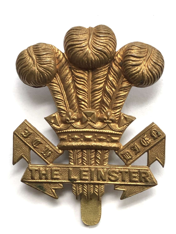 Irish. Leinster Regiment scarce 1916 WWI brass economy cap badge