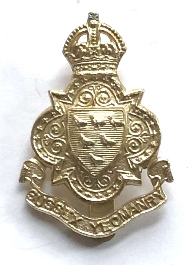 Sussex Yeomanty anodised early 1950's cap badge by JR Gaunt, London
