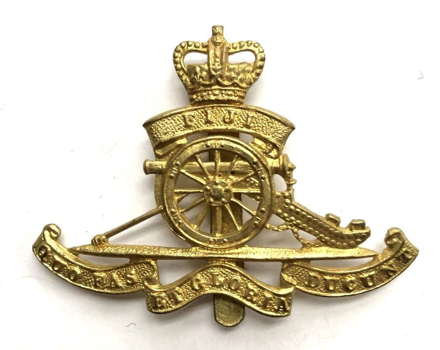 Fiji Volunteer Artillery post 1953 OR's brass cap badge by Dowler