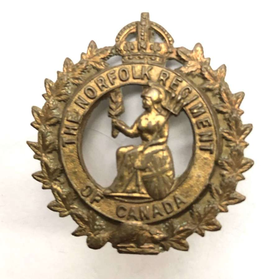 The Norfolk Regiment of Canada post 1929 cap badge