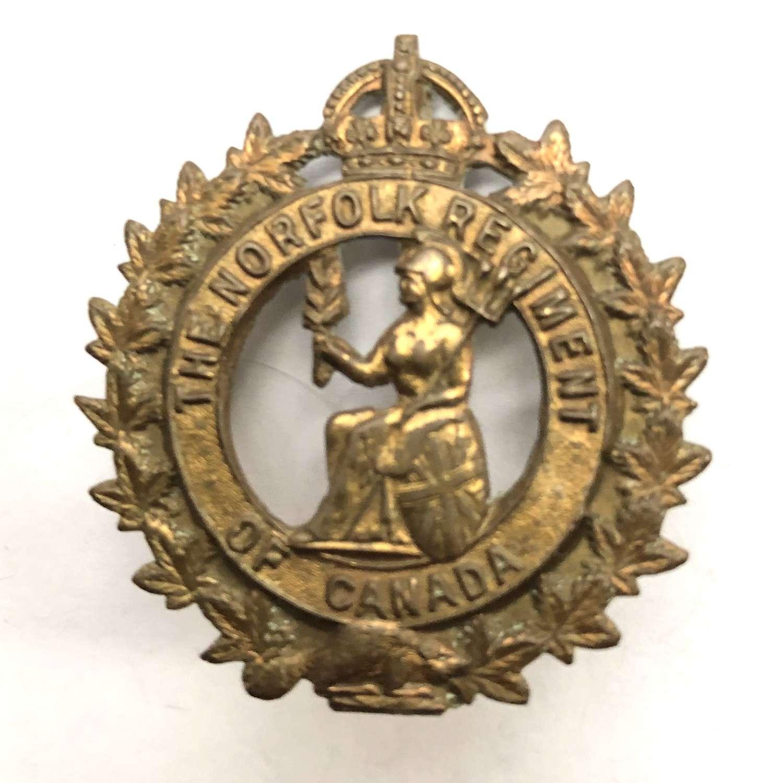 The Norfolk Regiment of Canada post 1929 cap badge