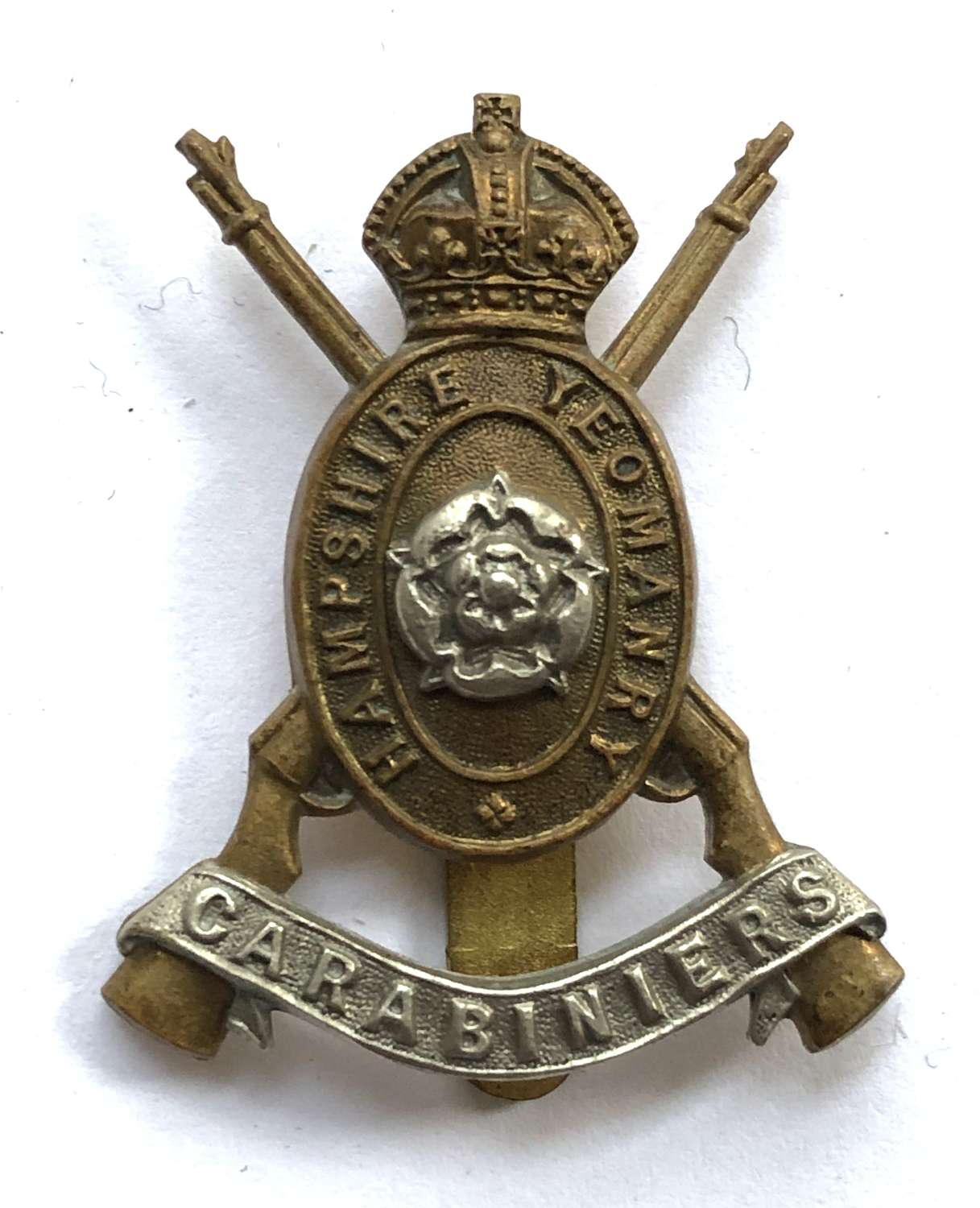 Hampshire Yeomanry Carabiniers bi-metal cap badge by J.R.Gaunt, London