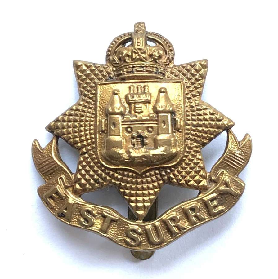 East Surrey Regiment 1916 all brass economy cap badge