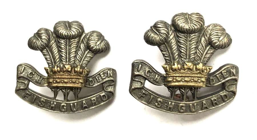 Pembroke Yeomanry pair of silver & gilt Officer's collar badges