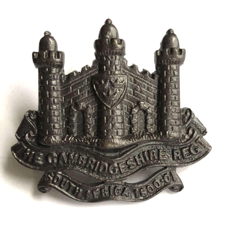 """Cambridgeshire Regiment OSD cap badge """"South Africa 1900-01"""" scrol"""