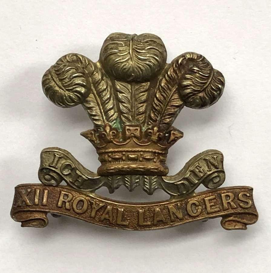 12th Royal Lancers Victorian bi-metal cap badge circa 1896-1902