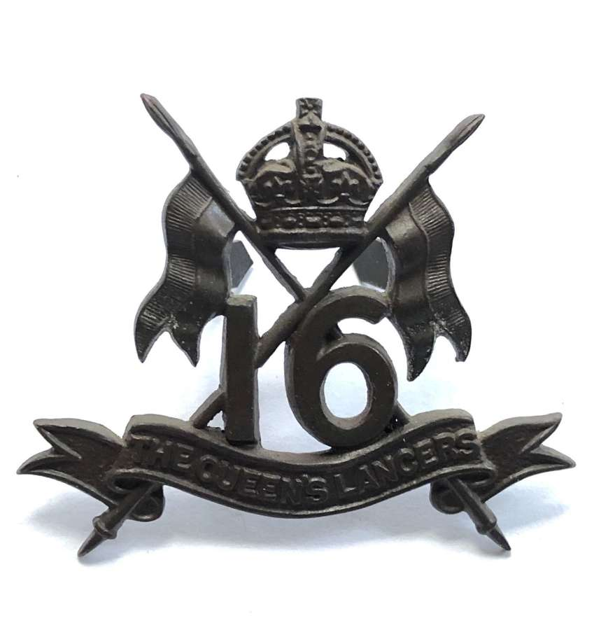 16th The Queen's Lancers OSD bronze post 1905 cap badgeby Firmin