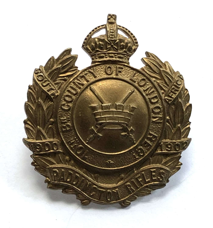 10th London Regiment (Paddington Rifles) cap badge circa 1908-12