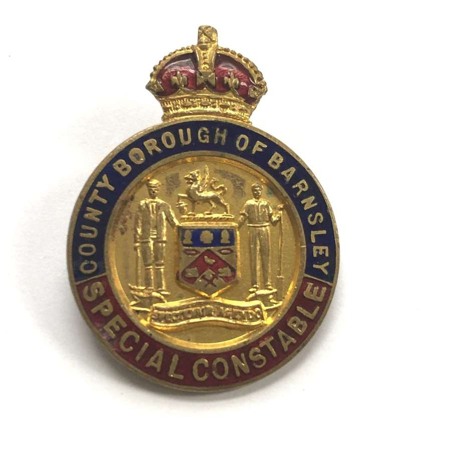 County Borough of Barnsley Special Constable WW1 police lapel badge