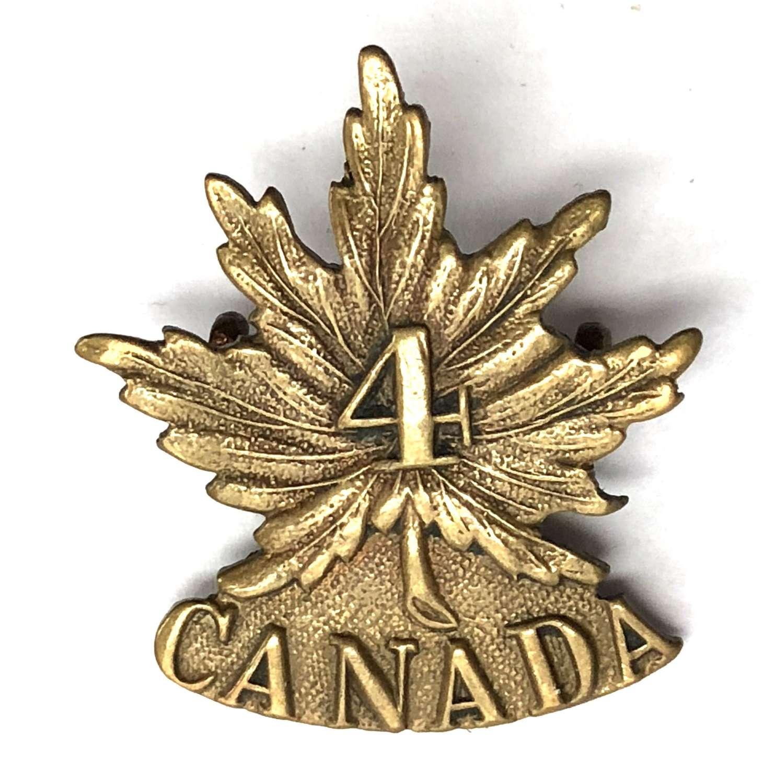 Canadian 4th Bn. CEF WW1 cap badge