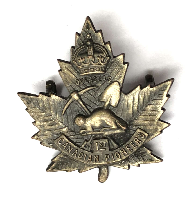 Canadian 1st Pioneer Bn. CEF WW1 cap badge by Inglis