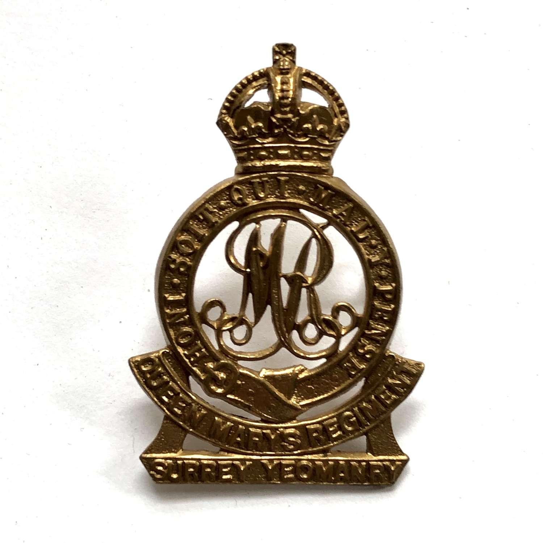 QMR Surrey Yeomanry pre 1953 cap badge